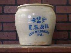 E. S. & B. New Brighton 2 Gallon Stoneware Crock. New Brighton, Stoneware Crocks, Auction, Jar, Home Decor, Jars, Interior Design, Home Interior Design, Glass