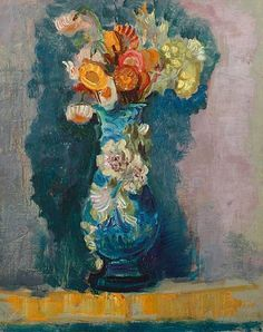 David Peretz (French, born 1906),Vase of flowerssigned, dated and indistinctly inscribed 'D Peretz/55' (lower right), oil on canvas,41x 33cm(161/8x 13in) (via Bonhams)