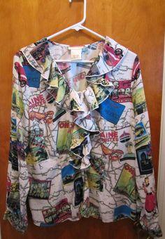 Americana Travel Route 66 Road Trip Womens Size XL Blouse Shirt  #JeffreyBanks #Blouse #Casual
