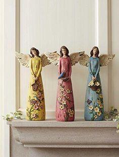 Whimsical Garden Angels Figurines Whimsical Garden Angels Figurines Assortment of 3 Set of 3 14 Angel Decor, Angel Art, Bottle Art, Bottle Crafts, Pottery Angels, Clay Angel, Ceramic Angels, Garden Angels, Angel Crafts
