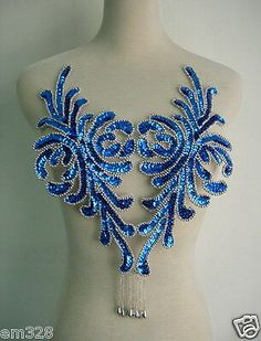Color: royal blue sequins with silver beads. Fabric Embellishment, Applique Fabric, Sequin Appliques, Rhinestone Appliques, Hand Embroidery Designs, Beaded Embroidery, Corset Sewing Pattern, Glitter Letters, Belly Dance Costumes