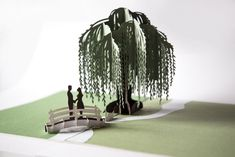 Willow Tree Love Scene Pop Up Card Wedding Card Anniversary Card Engagement Card Valentines Day Card Paper Pop Card