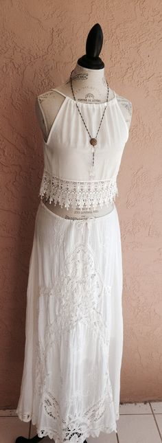 Spring Beach Bohemian crop lace top with fringe trim by BohoAngels, $45.00