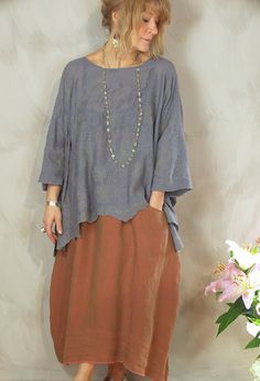 Santanyi Top £195 in embroidered fine wool,over Emily Skirt in linen £245 (Other colours).