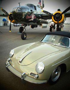 B25 'Mitchell' bomber and Porsche 356C convertible #porsche