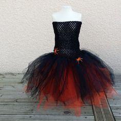 Robe tutu halloween noir et orange