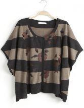 Black+Grey+Batwing+Sleeve+Floral+Cardigan+Sweater+US$24.43