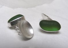 Green sea glass and silver cufflinks. Hand crafted using Devon found sea glass. Totally natural ocean tumbled sea glass.