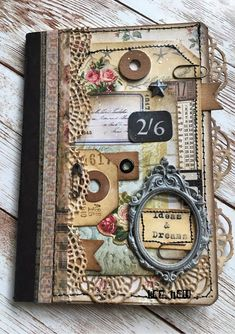 The Little Shabby Shed: April-Ideas and Dreams Journal Cover using Tim Holtz Sizzix Dies and Ephemera Scrapbook Cover, Scrapbook Journal, Journal Cards, Junk Journal, Vintage Scrapbook, Album Photo Scrapbooking, Scrapbook Albums, Handmade Journals, Handmade Books