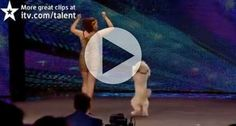 Very funny dance by a cute little dog and a 16 years old girl. Amazing video, must watch this beautiful dance by a dog in a talent show. [ad#square] [ad#link-unit]