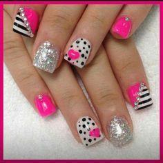 White Design, Nails Art, Nails Design, Pink Nails, Polka Dots Nails, Summer Nails, Sparkle Nails, Black Nails, Black White