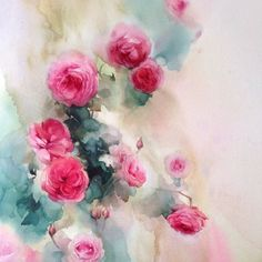 """""""In the artist's garden"""" #watercolor #art #artist #paint #painting #floral…"""