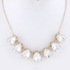 "Opaque Crystal Teardrop Statement Necklace New without tags. Jewelry comes in a padded envelope to ensure a safe delivery. All jewelry is buy 2 get 1 free! Approx 15"" length with a 3"" extender. Coming soon. Jewelry Necklaces"
