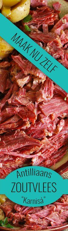 """Het lekkerste zoutvlees (""""karnisá"""") maak je toch gewoon zelf? Bekijk snel ons recept voor het lekkerste zoutvlees :)"""