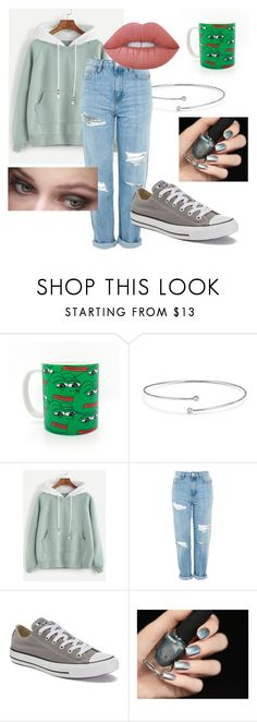 """""""casual converse day"""" by notmyprobllama ❤ liked on Polyvore featuring Elsa Peretti, Topshop, Converse and Lime Crime"""