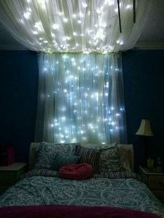 Lighted headboard canopy