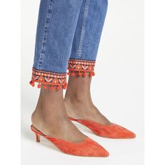 Buy Boden Tyra Kitten Heel Mules, Rosehip from our Womens Shoes, Boots & Trainers range at John Lewis & Partners. Denim Fashion, Fashion Pants, Boho Fashion, Fashion Outfits, Womens Fashion, Diy Clothing, Sewing Clothes, Jeans Refashion, Lace Jeans