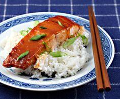 Miso-Sriracha glazed salmon.