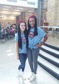 Superhero day, twin day, dress up day, superman