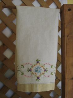 Embroidered Kitchen Tea Towel Guest Towel Flower by MyVintageTable