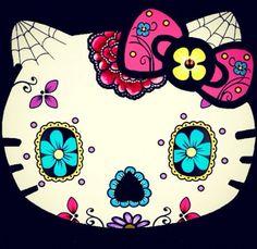 Think i might transform my HK foot tat to this hello kitty sugar skull Hello Kitty Halloween, Sugar Skull Art, Sugar Skulls, Chat Hello Kitty, Hello Kitty Imagenes, Hello Kitty Tattoos, Kitty Images, Hello Kitty Wallpaper, Cat Tattoo