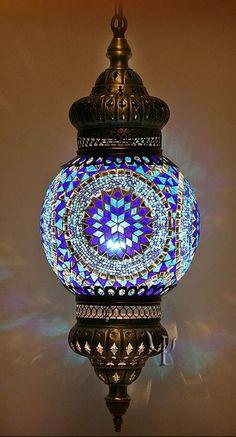 Blue Mosaic Turkish Style Colourful Pendant Lighting - mediterranean - pendant lighting - other metro - Hedef Aydınlatma Turkish Lamps, Moroccan Lamp, Turkish Lanterns, Turkish Lights, Turkish Carpets, Deco Luminaire, Blue Mosaic, Deco Design, Chandeliers