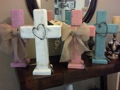 Rustic standing wood cross, in lilac, white, coral and aqua. On Easy at MLOldRuggedCrosses