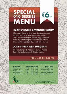 Speciaal menu voor RAAF's 010sessies! Een nieuw concept voor Rotterdams talent!