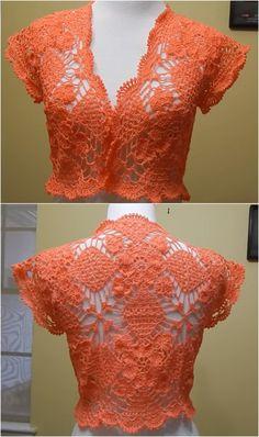 Crochet Bolero For Summer - Pretty Ideas - Diy Crafts Black Crochet Dress, Crochet Cardigan, Love Crochet, Crochet Shawl, Easy Crochet, Knit Crochet, Crochet Bolero Pattern, Shrug For Dresses, Crochet Summer Tops