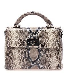 Look at this Brown & Cream Little Nadene Carlisle Python Leather Satchel on #zulily today!
