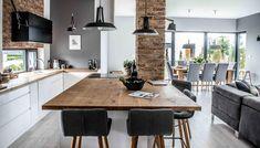 Image result for kolor kuchni do czerwonej cegly w salonie