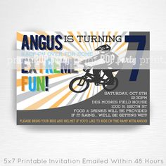 BMX Birthday Party Printable Invitation  YOU by printpopparty