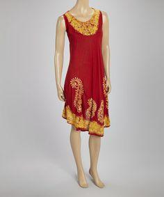 Look at this #zulilyfind! Coral & Gold Paisley Sequin Sleeveless Dress - Plus #zulilyfinds