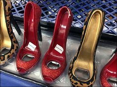 If a lover of high-heels, celebrate with your favorite red or white cradled in one of these fashionable stiletto-heel bottle cradles. Don't drink too much or you will end up with a dyslexic selecti… Stiletto Heels, High Heels, Perforated Metal, Trays, High Fashion, Retail, Wine, Sandals, Bottle