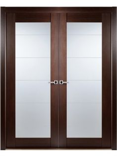 Contemporary African Wenge Interior Double Door Lined Frosted Glass, made byBELWOODDOORS ,SKU:Maximum-209-Wenge-2,