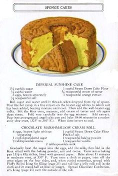 swans down cake flour recipes: Imperial Sunshine Cake; Retro Recipes, Vintage Recipes, Cookbook Recipes, Baking Recipes, Flour Recipes, Crisco Recipes, Food Cakes, Cupcake Cakes, Cupcakes