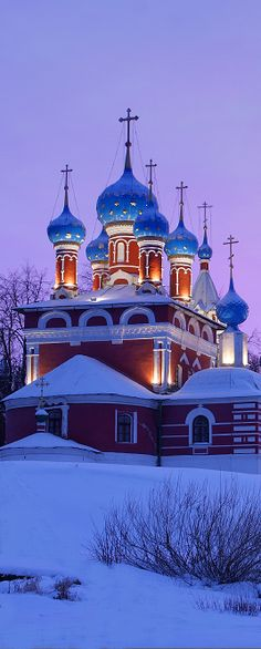Snowy church in the town of Uglich, Russia.