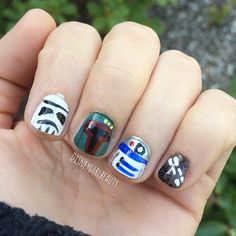 My #diymani for Star Wars day! I see a storm trooper, boba fett, R2D2 and Chewie!! Are any of you Star Wars nerds like me?!  #starwars #nailart