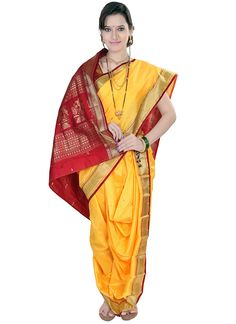 Yellow Jacquard Nauvari Saree