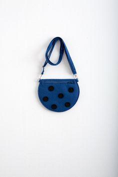 Deep Blue Felt Bag Purse Dark Blue Polka Dot Bag Cute by Marewo, $35.00