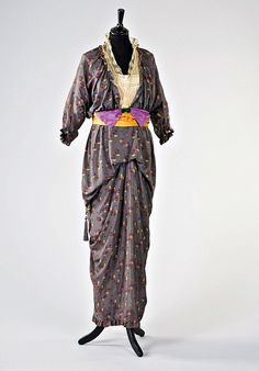 Circa 1912 printed silk gown attributed to French designer Paul Poiret. (1 of 2 photos) - Front view.