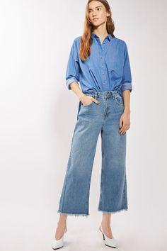 Topshop Pantalon large et court bleu moyen, MOTO 55,00€