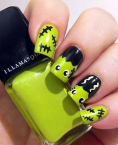 Green Frankenstein Nail Art nails halloween nail art halloween nails halloween n Fingernail Designs, Cute Nail Designs, Halloween Nail Designs, Halloween Nail Art, Spooky Halloween, Halloween Ideas, Nail Art Diy, Diy Nails, Skull Nail Art