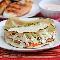 Kid-Friendly Fish Tacos with Coleslaw and Chipotle Sauce Recipe ~ http://jeanetteshealthyliving.com