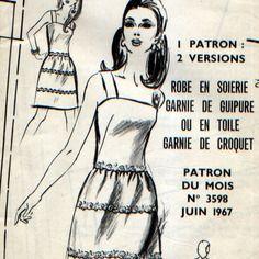 2 patrons vintage 60's, robe femme et  maillot de bain fillette, juin 1967, modes & travaux.