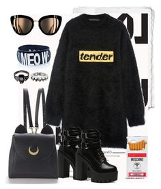"""Meow Tender Moon"" by agathastyles ❤ liked on Polyvore featuring Louis Vuitton, Alexander Wang, WithChic, King Baby Studio, Moschino, Chanel, AlexanderWang, starwars and dollskill"