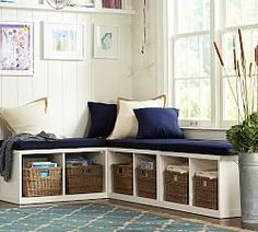 Breakfast nook-- wonder if Ikea bookshelves would hold up? Ryland Modular Banquette Storage Set end piece & 1 corner), Antique White Decor, Small Spaces, Furniture, Corner Cushions, House, Furniture Upholstery, Storage Bench, Home Decor, Platform Daybed