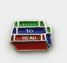 I Love to Read Floating Locket Charm at www.showyourcharm.com Create a story around your love for reading with this stack of books jewelry charm.