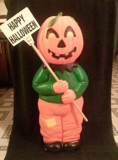 rare don featherstone pumpkin boy with sign halloween blow mold yard decor