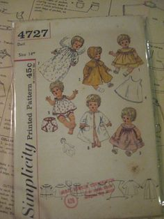 ORIGINAL Doll Clothes PATTERN 4727 Betsy Wetsy Carrie Cries Sweetie Pie 14 inch #Patternfordolls #Simpliticy4727